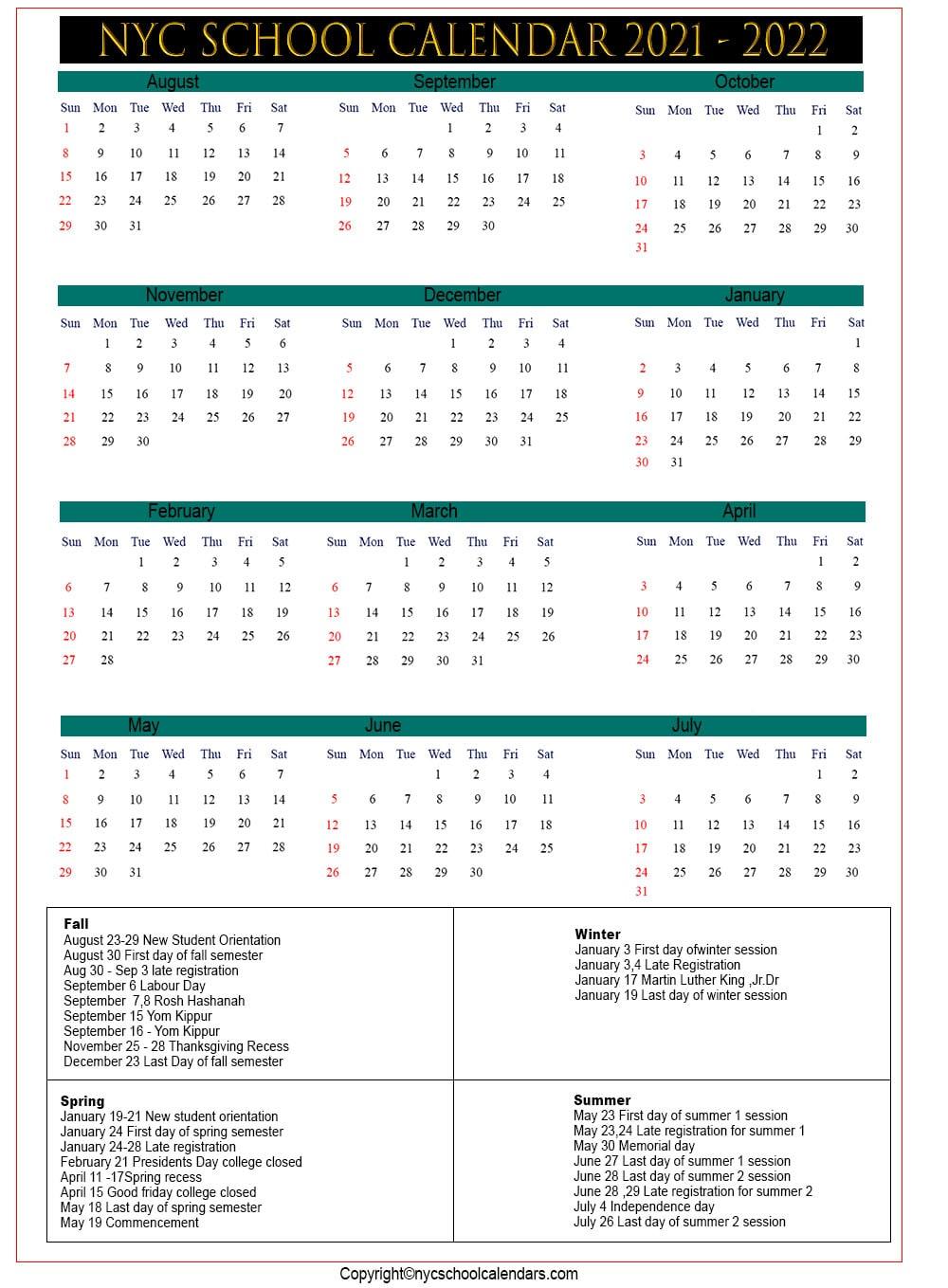Nyc school holidays Calendar 2021
