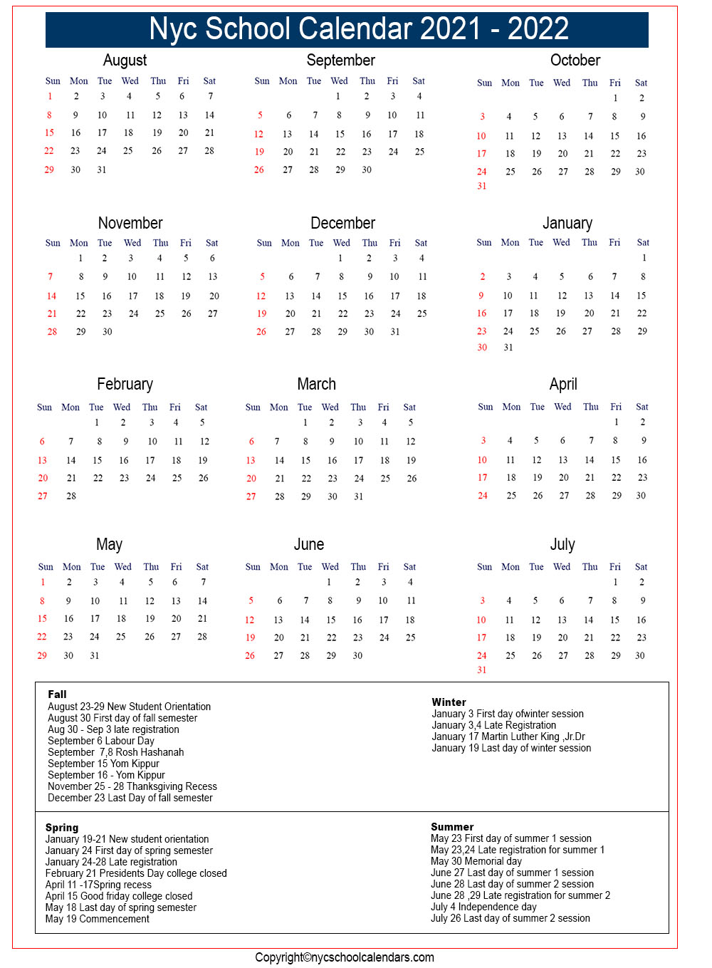Nyc Doe School Calendar 2021 Photos