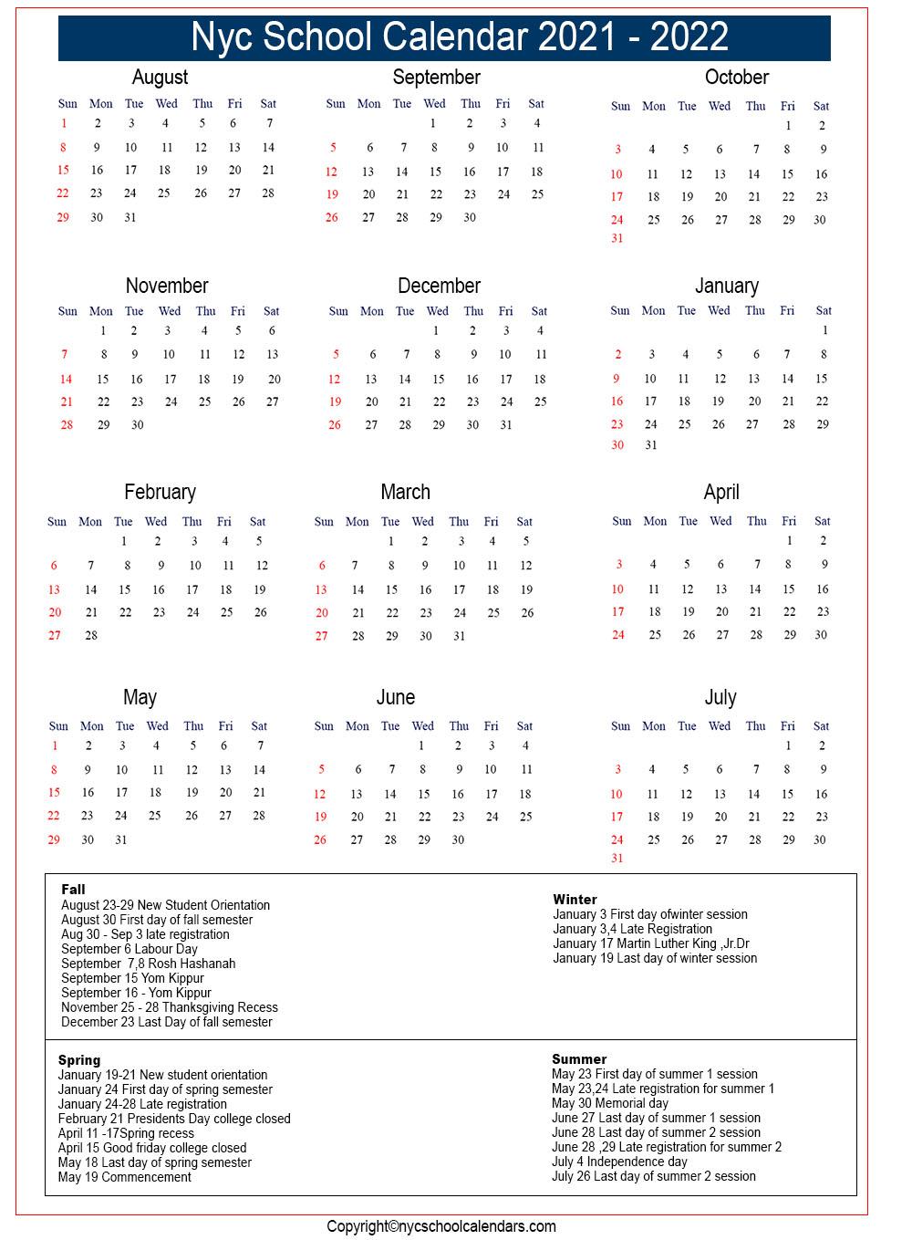 Nyc Board Of Ed Calendar 2021-22 NYC School Calendar 2021 ✅❤️