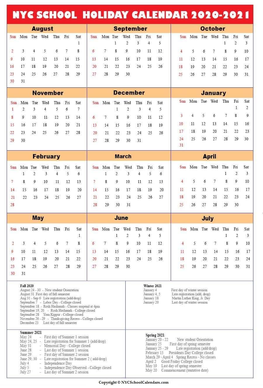 NYC School Holidays 2020